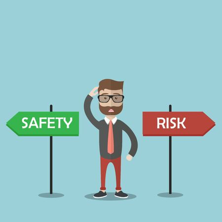 Confused businessman standing next to safety and risk signs. Work with safety concept. Business flat banner. Vector illustration