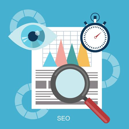 Search engine optimization modern flat icon. Vector illustration