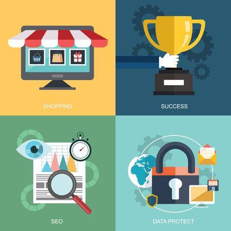 Wektor zbiory płaskich i kolorowych koncepcji biznesowych, marketingowych i finansowych. Projektowanie elementów aplikacji webowych i mobilnych Ilustracje wektorowe