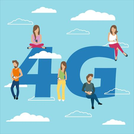People with gadgets sitting on the big 4G symbol. Addicted to networks, people of young men and women using high speed wireless connection 4G via mobile smartphone. Flat vector illustration 일러스트