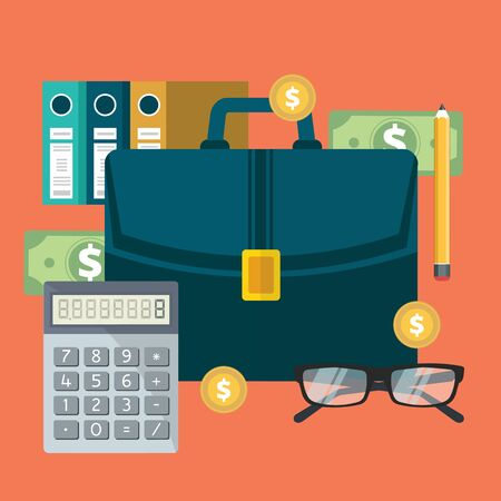 Successful financial business plan report and accounting. Flat vector illustration 일러스트