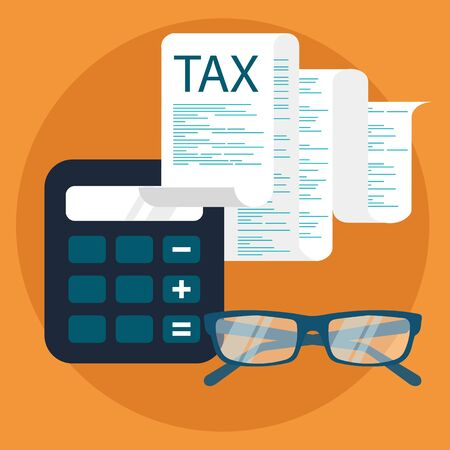 Tax payment. Government, state taxes. Data analysis, paperwork, financial research, report. Flat design. Tax form vector. Payment of debt.