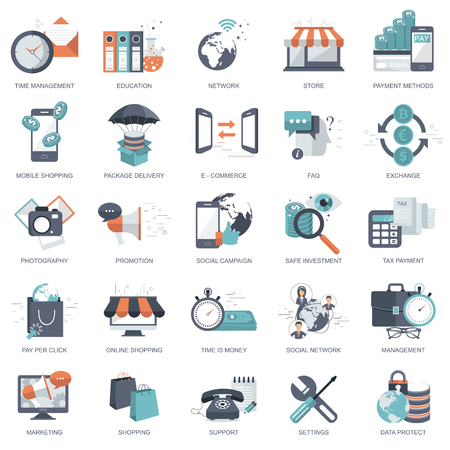 Business, management, finances, pay per click, education icon set for websites and mobile application development. Flat vector illustration 스톡 콘텐츠 - 104919864