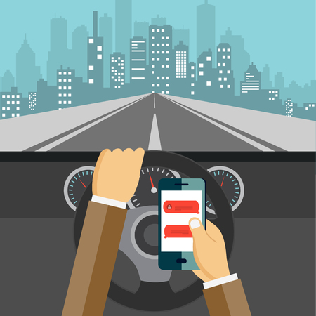Using mobile phone while driving. Flat vector illustration