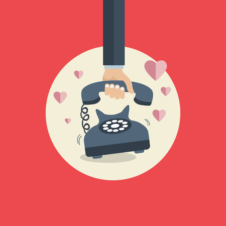 Flat background with retro telephone. Valentines day. Be my valentine. February. Love message. Flat vector illustration.