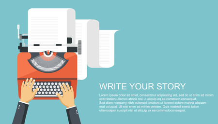 Write your story business banner for journalism. Flat vector illustration 일러스트