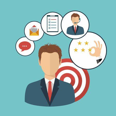 Homme présentant la gestion de la relation client. Système de gestion des interactions avec les clients actuels et futurs. Illustration vectorielle plane. Vecteurs