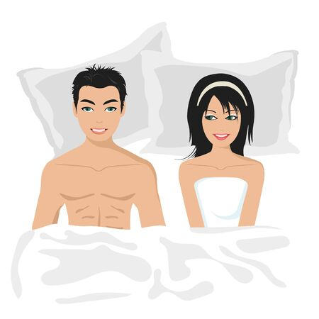 Young couple happy in bed. Flat vector illustration