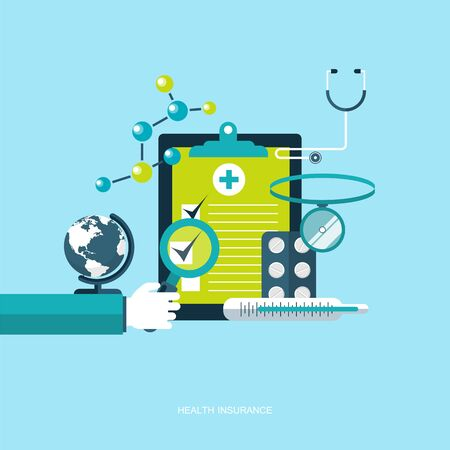 Health care insurance concept. Flat vector illustration 일러스트