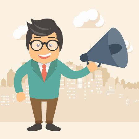 Digital marketing concept. Businessman standing in the street with megaphone in his hand. Flat vector illustration.