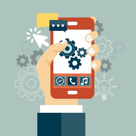 Application development icon. Concept to building successful business. Mobile phone and gears on the screen. Flat vector illustration 일러스트