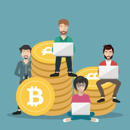 Bitcoin concept vector illustration of young people using laptop and smartphone for online funding and making investments for bitcoin. New technology icon. Flat vector illustration 일러스트