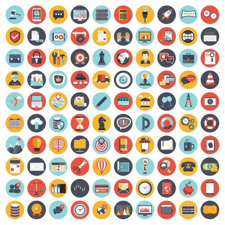 Conjunto de iconos de gestión y negocios para sitios web y aplicaciones móviles. Ilustración vectorial plana