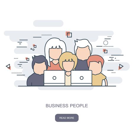 Set of business people. Avatars. Flat vector outline illustration