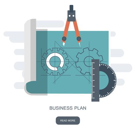Business plan. Blueprint paper with drawing and equipment. Flat vector illustration 일러스트