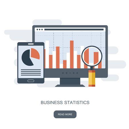 Statistik und Geschäftsaussage. Konzept der Finanzverwaltung. Beratung zur Unternehmensleistung, Analysekonzept. Flache Vektorillustration