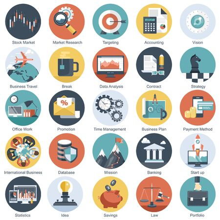 Colorful icon set for business, management, technology and finances. Flat objects for websites and mobile applications