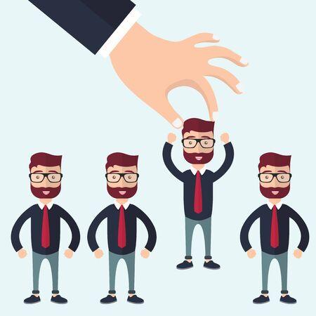 직업 개념에 가장 적합한 후보를 선택합니다. 행에서 사업가를 따기 손. 평면 벡터 디자인