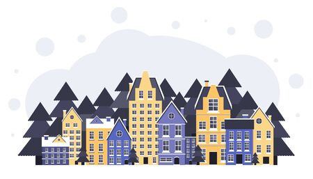 Winter landscape. New Year and Christmas poster. Winter in village. Christmas eve. Flat vector illustration 일러스트