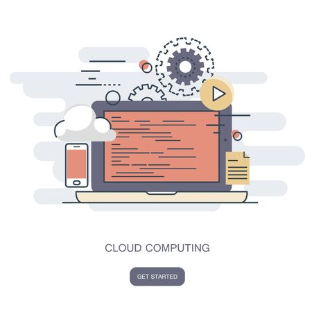 Cloud computing concept. Work desk with computer technology, cell phones and tablets. Flat vector illustration