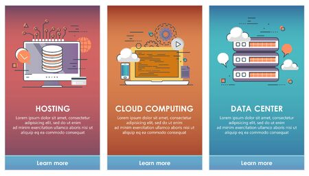 On boarding screens for mobile app templates concept. Cloud computing, hosting, data center. Vector illustration flat design