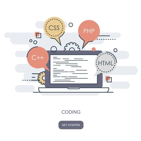 Programming and coding concept. Application development icon for websites. Software and program code concept. Flat vector illustration