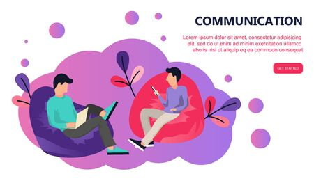 Two people sitting in lazy bag. Communication via the Internet, social networking, chat, video, messages, news, web site, mobile web graphics. Landing page template. Flat vector illustration 일러스트