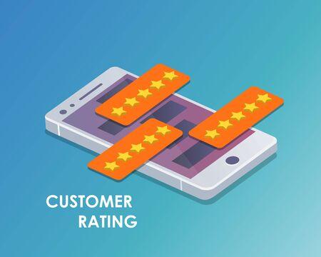 Concept of feedback, testimonials messages and notifications. Speech bubbles on mobile phone with review rating, flat style smart phone reviews stars with good and bad rate and text. Isometric vector Çizim