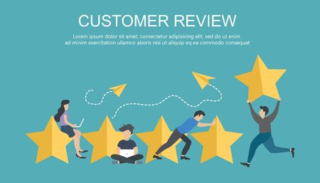 Customer rating. The best estimate of performance, the score of five points. People leave feedback and comments, successful work is the highest score. Flat vector illustration