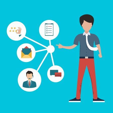 Man presenting customer relationship management. System for managing interactions with current and future customers. Flat vector illustration.