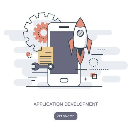 Mobile application and mobile app development concept. Flat vector illustration.