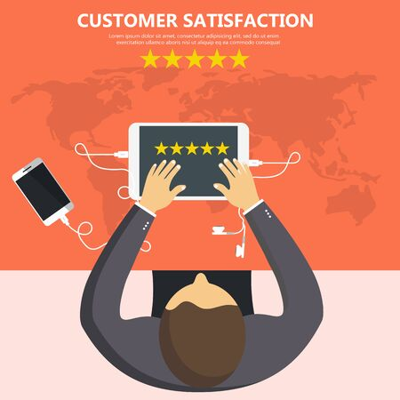 Rating on customer service illustration. Man sitting at the table and holding his tablet with five stars on the screen. Website rating feedback and review concept. Flat vector illustration 일러스트