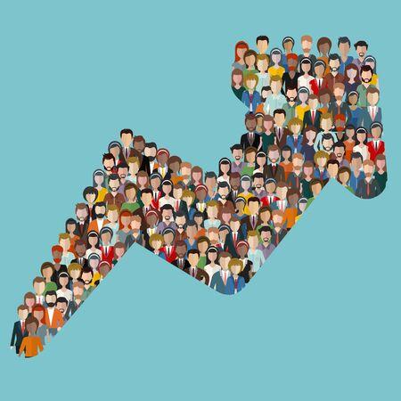 Concepto de atraer clientes y clientes al negocio. Gran grupo de personas en forma de dirección de flecha. Ilustración de Vector plano.