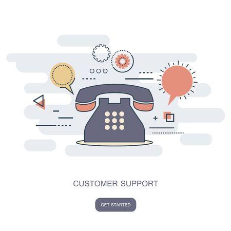 Concetto di servizio di assistenza al cliente aziendale. Set di icone di contatto, supporto, aiuto, telefonata e clic sul sito web. vettore piatto Vettoriali