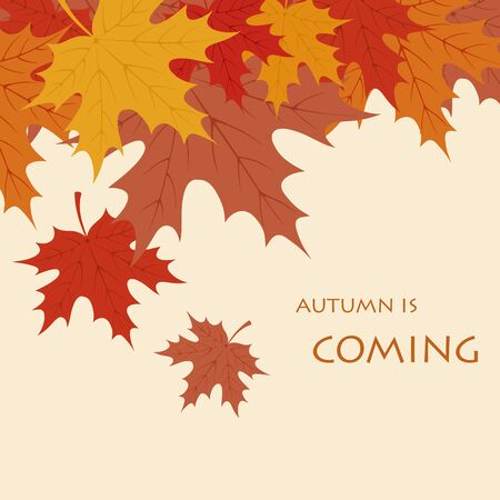 Autumn is coming background. Flat vector illustration