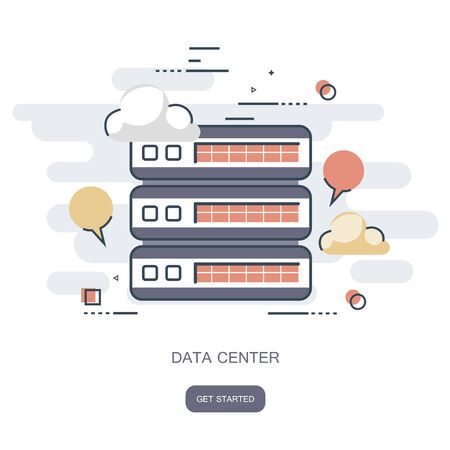Data center cloud computer, connection hosting, server database. Flat vector illustration