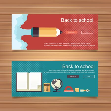 Welcome back to school concept. Flat vector illustration