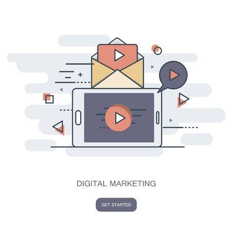 Digital marketing concept. Flat vector illustration.