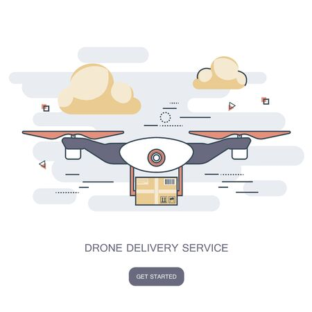 Delivery drone with the package. Concept for delivery service. Flat design outline vector illustration.