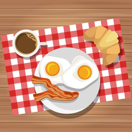 Breakfast of fried eggs and bacon with coffee and butter roll. Vector illustration. Eating on a plate is a top view. Served breakfast. 일러스트