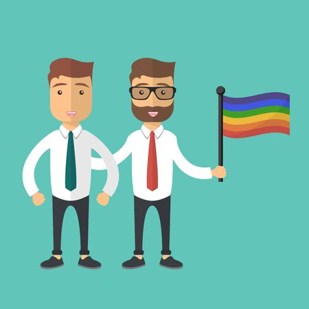 Vector illustration for pride month event celebration. Two men standing together with rainbow flag. Vectores