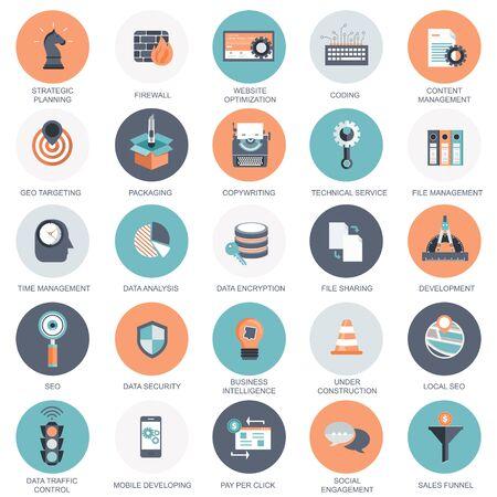 Vectorverzameling van kleurrijke platte pictogrammen voor zoekmachineoptimalisatie, zaken, technologie en financiën. Ontwerpelementen voor mobiele en webapplicaties. Vector Illustratie