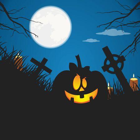 Halloween poster. Flat vector illustration