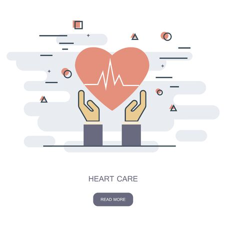 Heart care concept. Cardio vascular. Hands holding a red heart. Flat Medical Icon. Vector illustration.