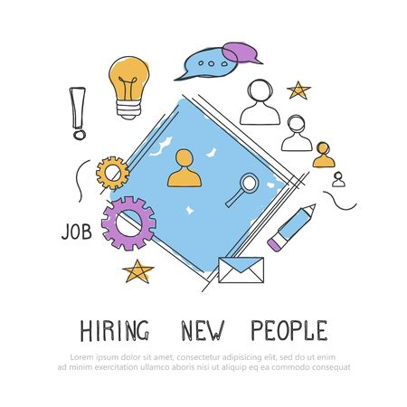 Find the right person for the job concept. Hiring and recruiting new employees. Flat vector design 일러스트