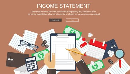 Invoice. Financial calculations. Working process. Businessman hands, calculator, financial reports, money, coins, pen. Top view. Vector illustration in flat design on green background