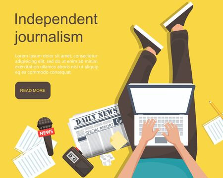 Independent journalism flat banner. Man sitting on the floor holding lap top in his lap with equipment for journalist. Flat vector illustration 일러스트