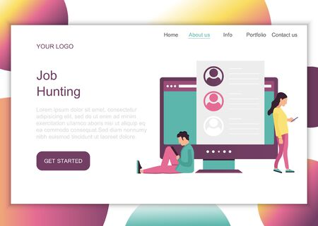 Job hunting. We are hiring concept. Find the right person for the job. Flat vector illustration