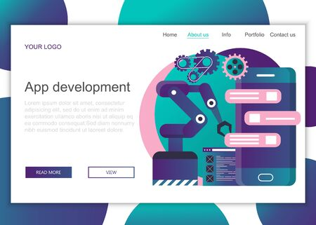 Modern flat design concept of web page design for website and mobile website. Landing page template of application development. Flat vector illustration