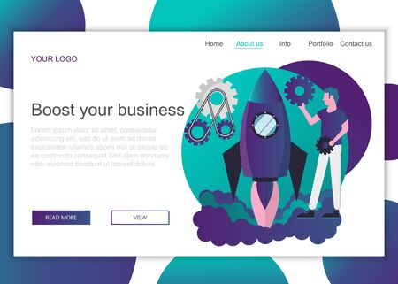 Modern flat design concept of web page design for website and mobile website. Landing page template of boosting the business. Flat vector illustration